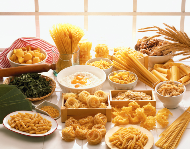 high angle view of an array of assorted pastas